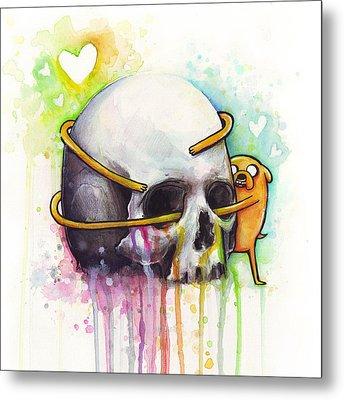 Adventure Time Jake Hugging Skull Watercolor Art Metal Print by Olga Shvartsur