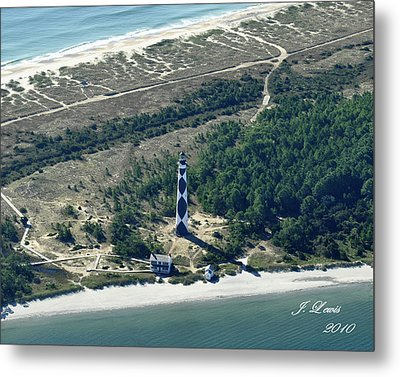 Aerial Of Cape Lookout Lighthouse Metal Print by James Lewis