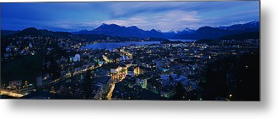 Aerial View Of A City At Dusk, Lucerne Metal Print by Panoramic Images