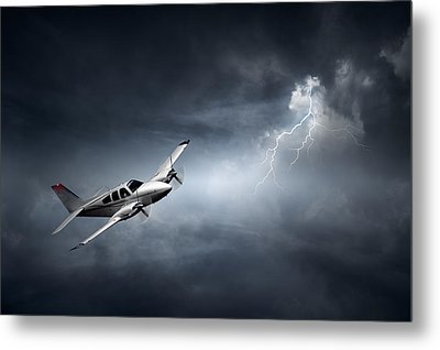 Risk - Aeroplane In Thunderstorm Metal Print by Johan Swanepoel