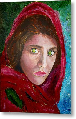 Afghan Girl Painting Metal Print by Francis Lee