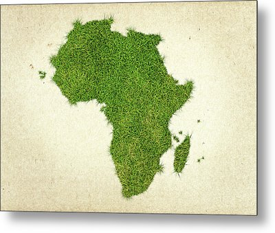 Africa Grass Map Metal Print by Aged Pixel