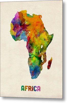 Africa Watercolor Map Metal Print by Michael Tompsett