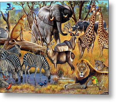 African Collage Metal Print by Cynthie Fisher