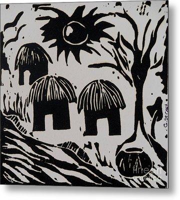 African Huts White Metal Print by Caroline Street