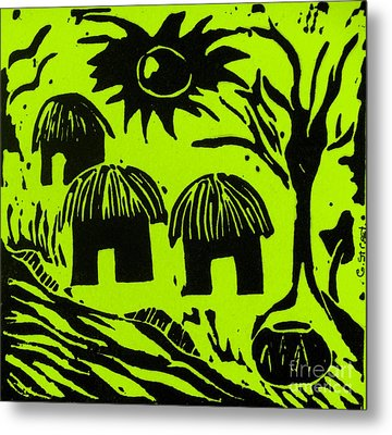 African Huts Yellow Metal Print by Caroline Street