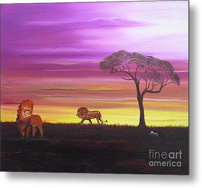 African Lions Metal Print by Barbara Hayes