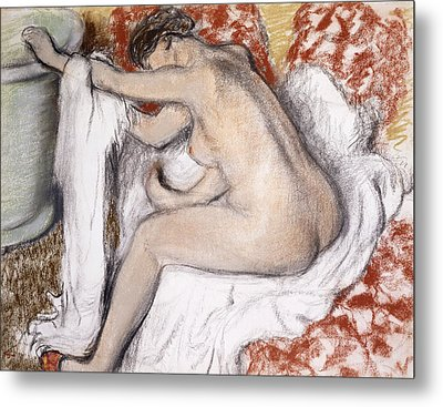 After The Bath Woman Drying Herself Metal Print by Edgar Degas