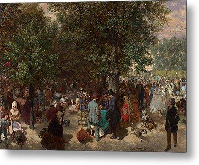 Afternoon In The Tuileries Gardens Metal Print by Adolph Friedrich Erdmann von Menzel