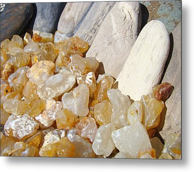Agate Rocks Beach Art Prints Agates Metal Print by Baslee Troutman