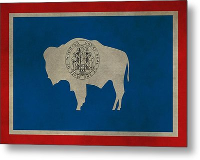 Aged Wyoming State Flag Metal Print by Dan Sproul