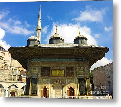Ahmet II Fountain Next To Topkapi Palace Main Entry With A Minaret Of Hagia Sophia Palace Istanbul  Metal Print by Ralph A  Ledergerber-Photography
