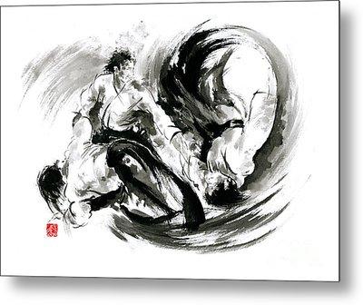 Aikido Randori Fight Popular Techniques Martial Arts Sumi-e Samurai Ink Painting Artwork Metal Print by Mariusz Szmerdt