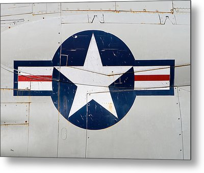 Air Force Logo On Vintage War Plane Metal Print by Stephanie McDowell