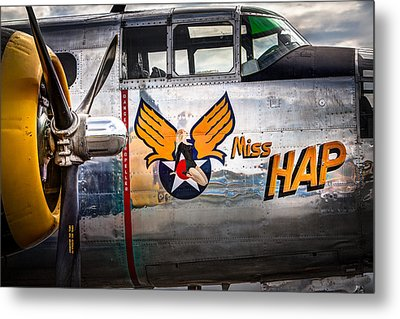 Aircraft Nose Art - Pinup Girl - Miss Hap Metal Print by Gary Heller