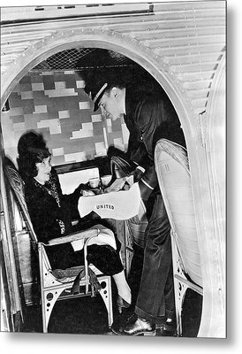 Airline Steward Serves Woman Metal Print by Underwood Archives