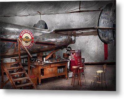 Airplane - The Repair Hanger  Metal Print by Mike Savad
