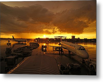 Airport After The Rain Metal Print by Chikako Hashimoto Lichnowsky