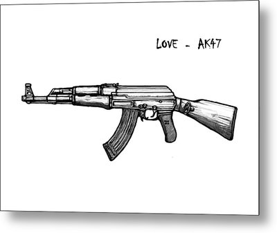 Ak - 47 Gun Drawin Art Poster Metal Print by Kim Wang