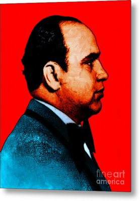 Al Capone C28169 - Red - Painterly Metal Print by Wingsdomain Art and Photography