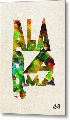 Alabama Typographic Watercolor Map Metal Print by Ayse Deniz