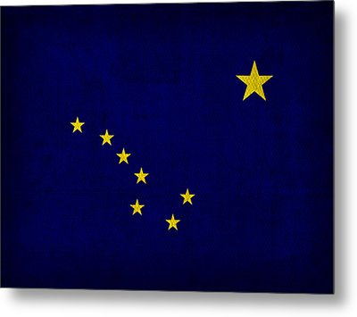 Alaska State Flag Art On Worn Canvas Metal Print by Design Turnpike