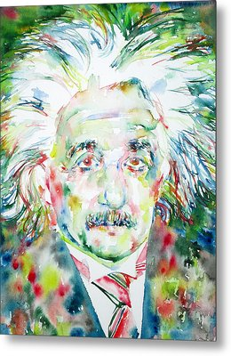 Albert Einstein Watercolor Portrait.1 Metal Print by Fabrizio Cassetta