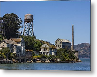 Alcatraz Dock And Water Tower Metal Print by John McGraw