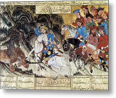 Alexander Fights Habash Monster Metal Print by Photo Researchers