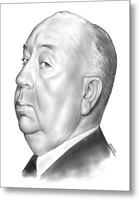 Alfred Hitchcock Metal Print by Greg Joens