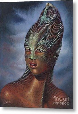 Alien Portrait I Metal Print by Ricardo Chavez-Mendez