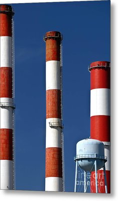 All American Industry Smokestacks Metal Print by Amy Cicconi