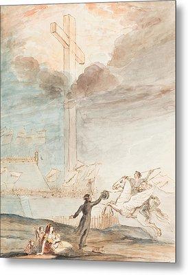 Allegory   Knowledge Versus Orthodox Religion Metal Print by Auguste Hervieu