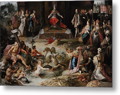 Allegory Of The Abdication Of Emperor Charles V In Brussels, C.1630-1640, By Frans Francken Metal Print by Bridgeman Images