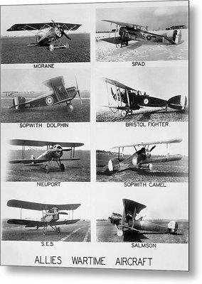 Allies World War I Aircraft Metal Print by Underwood Archives