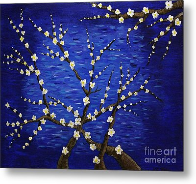 Almond Branches In Bloom Metal Print by Vicki Maheu