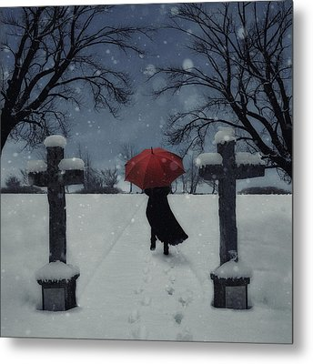 Alone In The Snow Metal Print by Joana Kruse