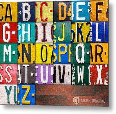 Alphabet License Plate Letters Artwork Metal Print by Design Turnpike