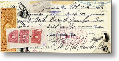 Altered Check 1923 Metal Print by Carol Leigh