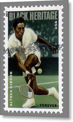 Althea Gibson Postage Stamp Metal Print by Phil Cardamone