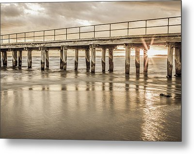Altona Pier In Sepia Metal Print by Shari Mattox