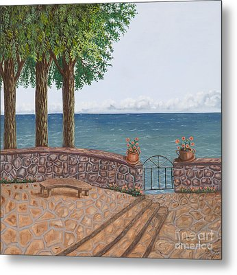 Amalfi Terrace Over Looking The Sea Metal Print by Stevie Stefano