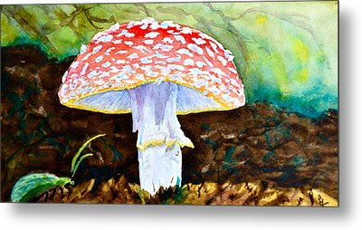 Amanita And Lacewing Metal Print by Beverley Harper Tinsley