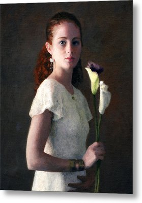 Amber With Lilies Metal Print by Charles Pompilius