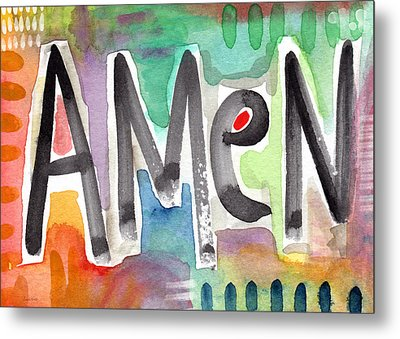Amen Greeting Card Metal Print by Linda Woods