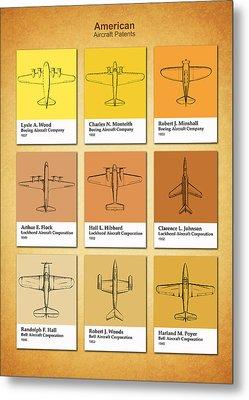 American Airplane Patents Metal Print by Mark Rogan