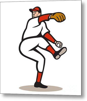 American Baseball Pitcher Throwing Ball Cartoon Metal Print by Aloysius Patrimonio