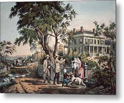 American Country Life  October Afternoon, 1855  Metal Print by Currier and Ives