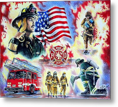 American Firefighters Metal Print by Andrew Read