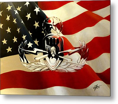 American Flag And Eod Badge Metal Print by Michelle Iglesias
